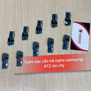 Cụm chân sạc + jack tai nghe Samsung A12 (zin cty)